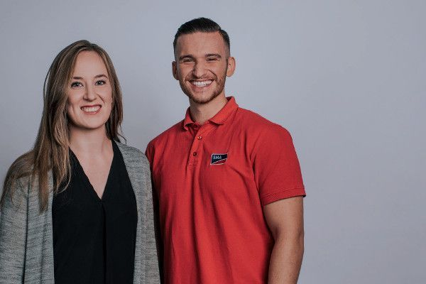 Lina Franke, Sales Coordinator, and Egzon Rulani, Electronics Technician, - former SMA trainees