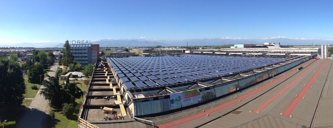 PV plant rooftop Installation of L'ORÈAL in Settimo Torinese, Northern Italy