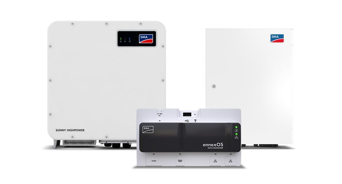 SUNNY HIGHPOWER PEAK3 Solution with Inverter, DC Combiner Boxes and ennexOS Data Manager